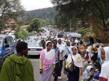 Pilgerstrom auf dem weg zum Kloster Debre Libanos, Äthiopien